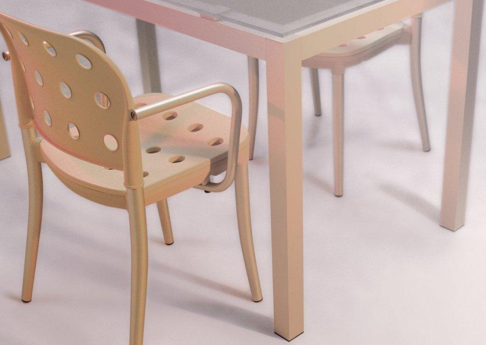sedia e tavolo in alluminio