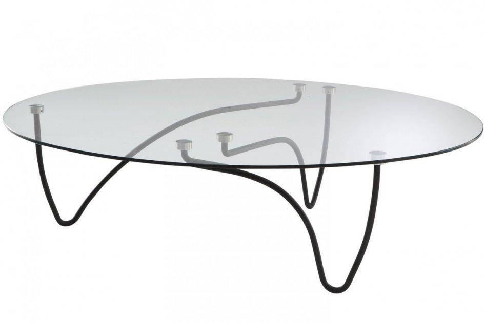 tavolo con piano in vetro e gambe verniciate