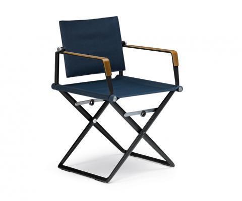 sedia in alluminio con tessuto e braccioli in teak